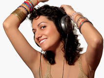 Music-time. Young beautiful girl enjoing music Royalty Free Stock Photos