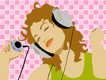 Music time. Dancing girl with headphones & player Royalty Free Illustration