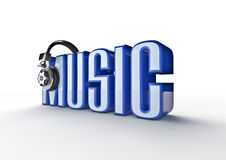Music title. 3D render of word music with headphones Royalty Free Stock Images