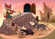 Music to go beyond the fear. Fox is playing the flute. Vector illustration Royalty Free Stock Photography