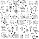 Music tool doodles set Royalty Free Stock Image