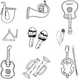 Music tools in doodle Royalty Free Stock Photo