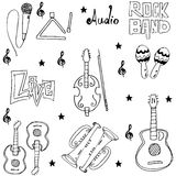 Music tools doodles set Royalty Free Stock Photography
