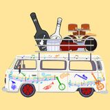 Music tour bus vector flat illustration Stock Photos