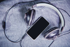 Music for travel in the mountains, Phone Earphones Royalty Free Stock Photography