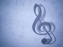 Music and treble clef Royalty Free Stock Photo