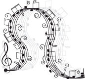 Music. Treble clef and notes for your design. Royalty Free Stock Images