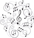 Music. Treble clef and notes for your design. Royalty Free Stock Photography