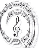 Music. Treble clef and notes for your design. Stock Photos