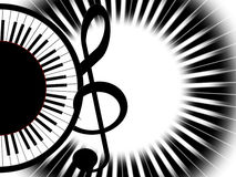 Music. Treble clef and round piano Royalty Free Stock Photos