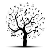 Music Tree. Music notes tree silhouette design in black Stock Image