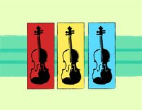 Music Trio. Artistic computer illustration of violins on a colorful background. Simple yet bold Stock Photos