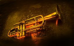 The music on trumpet stock photo