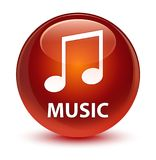 Music (tune icon) glassy brown round button Stock Images