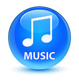 Music (tune icon) glassy cyan blue round button. Music (tune icon)  on glassy cyan blue round button abstract illustration Stock Images