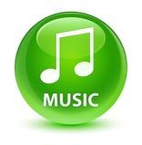 Music (tune icon) glassy green round button Stock Image