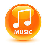 Music (tune icon) glassy orange round button. Music (tune icon) isolated on glassy orange round button abstract illustration Stock Photo