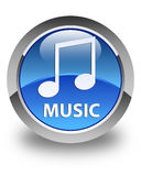 Music (tune icon) glossy blue round button. Music (tune icon) isolated on glossy blue round button abstract illustration Stock Photography