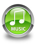 Music (tune icon) glossy green round button. Music (tune icon) isolated on glossy green round button abstract illustration Royalty Free Stock Image