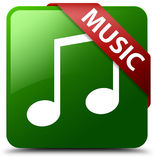 Music tune icon green square button. Reflecting shadow with red ribbon in corner Stock Image