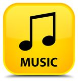 Music (tune icon) special yellow square button. Music (tune icon) isolated on special yellow square button abstract illustration Royalty Free Stock Image