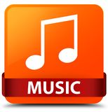 Music (tune icon) orange square button red ribbon in middle Royalty Free Stock Images