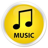 Music (tune icon) premium yellow round button. Music (tune icon) isolated on premium yellow round button abstract illustration Stock Image
