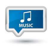 Music (tune icon) prime blue banner button. Music (tune icon) isolated on prime blue banner button abstract illustration Stock Photography