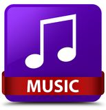 Music (tune icon) purple square button red ribbon in middle. Music (tune icon) isolated on purple square button with red ribbon in middle abstract illustration Royalty Free Stock Photo