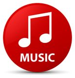 Music (tune icon) red round button Royalty Free Stock Images