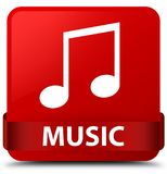 Music (tune icon) red square button red ribbon in middle. Music (tune icon) isolated on red square button with red ribbon in middle abstract illustration Stock Images