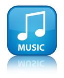 Music (tune icon) special cyan blue square button. Music (tune icon) isolated on special cyan blue square button reflected abstract illustration Royalty Free Stock Image
