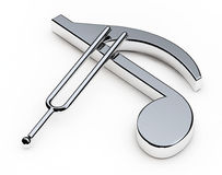 Music Tuning Fork over Note. 3d Rendering Royalty Free Stock Photography