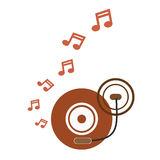 Music turntable disc brown retro  music notes vector Royalty Free Stock Photos