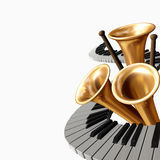 Music two. The abstract music  illustration with piano,  drumstick and trumpet Stock Images