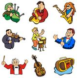 Music in vector. Set of musicians and music related objects, cartoon style, vector illustration Royalty Free Stock Image