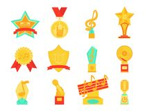 Music vector award statuette microphone and notes entertainment winner top artist achievement musicnote prize. Illustration Stock Images