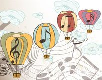 Music vector background with air balloons Stock Image
