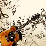 Music vector background with guitar and notes. Vector background with detailed guitar and notes for design stock illustration