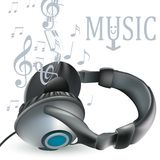 Music vector background with headphones and notes for design Stock Image