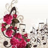 Music vector background with treble clef and roses for design. Floral vector background with roses and music elements Stock Photo