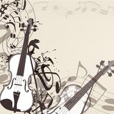 Music vector background with violin and notes Stock Photos