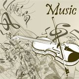 Music vector background with violin and notes in vintage style Royalty Free Stock Photo
