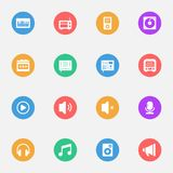 Music vector flat icons on the color substrate  set of 16. On white background Stock Photography