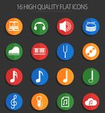 Music 16 flat icons. Music vector icons for web and user interface design royalty free illustration