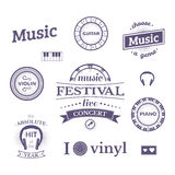 Music vector labels and logos illustrations Royalty Free Stock Photos