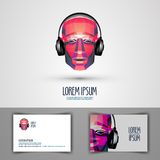 Music vector logo design template. headphones or Royalty Free Stock Photography