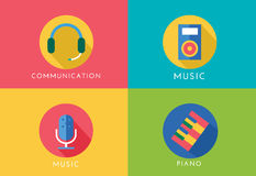 Music vector logo icons set. Player, piano, sound. Microphone and headphone, radio. Keys or buttons, dj party, note music icons. Vector logo. Stocks design Stock Photography