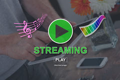 Concept of music and video streaming royalty free stock image