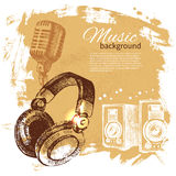 Music vintage background. Hand drawn illustration Stock Photos